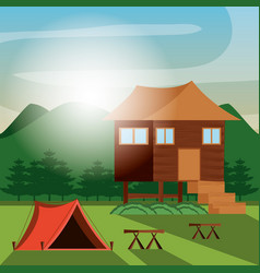 Camping zone with house wooden vector