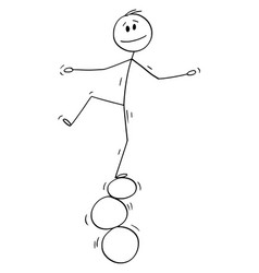 Cartoon man or businessman balancing on three vector