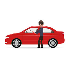 cartoon robber steals a car vector image