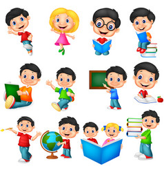 cartoon school children collection set vector image