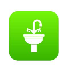 ceramic sink icon digital green vector image