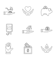 Charity icons set outline style vector