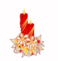 Christmas decoration candle with white poinsettia vector