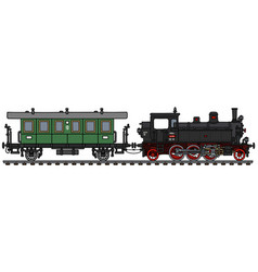 Classic tank engine locomotive and coach vector