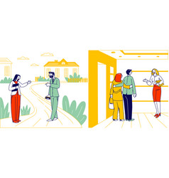 Couple visiting apartment for house tour vector