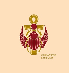 Creative emblem on egyptian scarab with wings vector