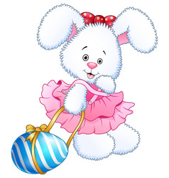 Cute pink toy bunny dress holding bow and easter e vector