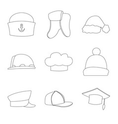 design of headgear and cap sign set of vector image