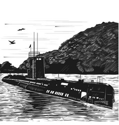 diesel submarine of post-war construction nuclear vector image