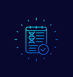 Dna test result line icon vector
