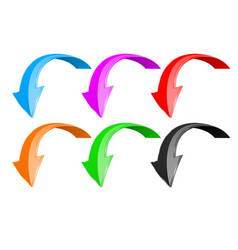 down arrows 3d shiny colored signs vector image