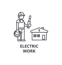 Electric work line icon sign vector
