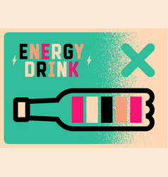 Energy drink charge poster bottle full battery vector
