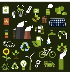 Environment and recycling flat icons vector image
