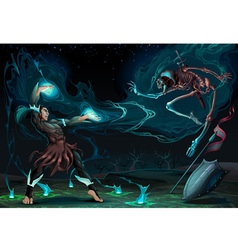 Fighting scene between magician and skeleton vector