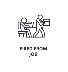 fired from job line icon outline sign linear vector image