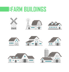 Five farm buildings set of icons vector