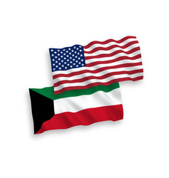 Flags kuwait and america on a white background vector
