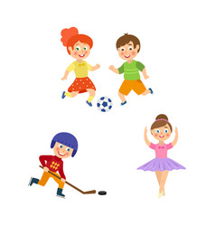 Flat kids doing sports set vector