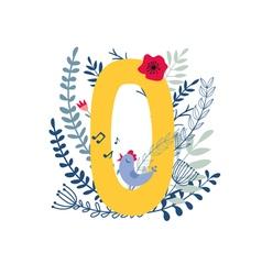 Floral alphabet letter o vector