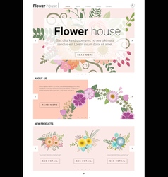 Floral website template banner and infographic 2 vector