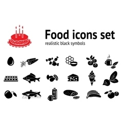 Food icon set fish sweets mushrooms honey tea vector