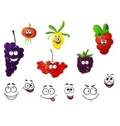 Fresh cartoon berries set vector image