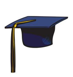 Graduation cap with yellow tassel sketch of black vector