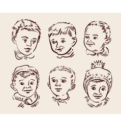 Hand drawn sketch set children vector image