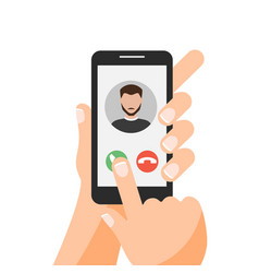 Hand holding smartphone with one finger over vector