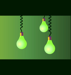 Hanging on cords three light bulbs on a green vector