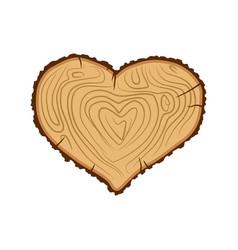 Heart wood i love tree like firewood vector