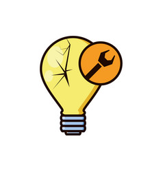 light bulb broken with wrench vector image