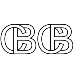Logo sign bc and cb icon sign two interlaced vector