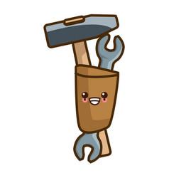 Mallet and wrench tools kawaii cartoon vector