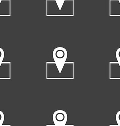 Map pointer icon sign Seamless pattern on a gray vector image