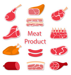 Meat products flat vector