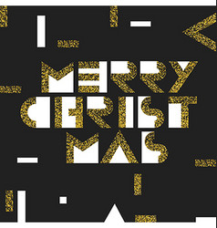 Merry christmas postcard golden gold geometric vector