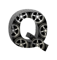 Metal and wheels cutted figure q Paste to any vector
