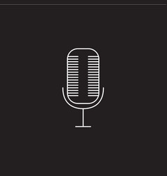 Microphone line icon outline logo vector