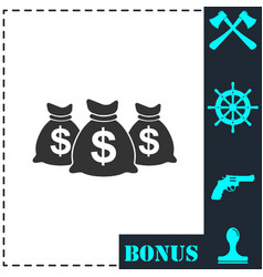 money bags icon flat vector image