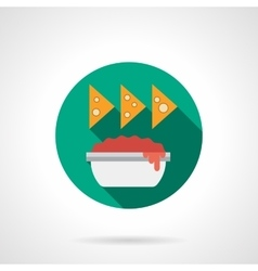 Nachos with sauce flat color design icon vector image