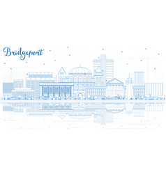 outline bridgeport connecticut city skyline with vector image
