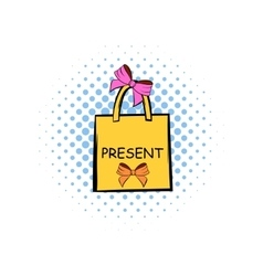 Paper bag with bows comics icon vector image