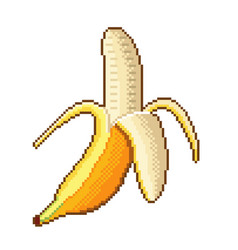 pixel banana fruit detailed isolated vector image
