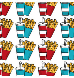 Refreshing soda with tasty fries french background vector