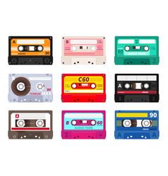retro cassettes vintage 1980s music tape dj rave vector image