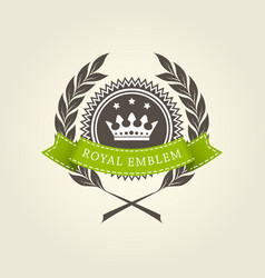 royal emblem template with laurel wreath vector image