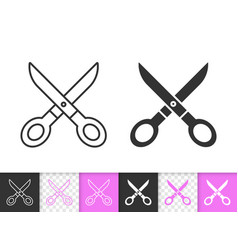 Scissors simple sewing black line icon vector
