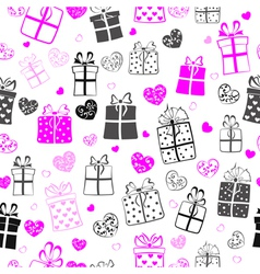Seamless pattern of hearts and gift boxes vector image